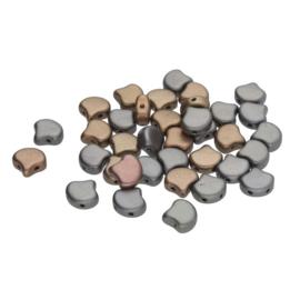 Matubo 2-Hole Ginko Bead Matte Metallic Leather