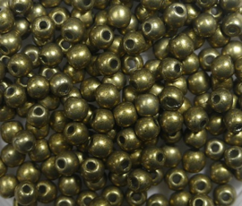Round Beads , 3 mm, Czech Glass, Colortrends Saturated Metallic Golden Lime