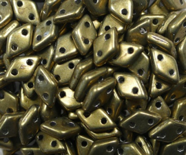 2 hole Diamond Beads, 4x6 mm, Czech Mates, Color Trends Saturated Metallic Emperador