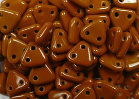 2 hole Triangle Beads, 6 mm, Czech Mates, Opaque Umber