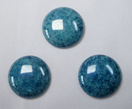 Czech Round Cabochon, 24 mm, Green Turquoise Lumi