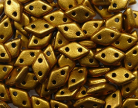 2 hole Diamond Beads, 4x6 mm, Czech Mates, Matte Metallic Goldenrod