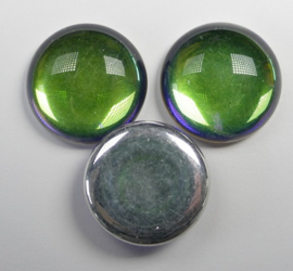 Czech Round Cabochon, 18 mm, Backlit Petroleum