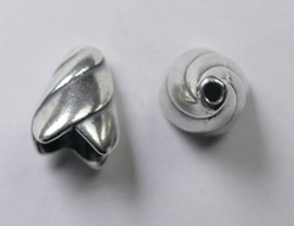 Eindkapjes, kegelvorm spiraal, 13 mm, Antique Silver