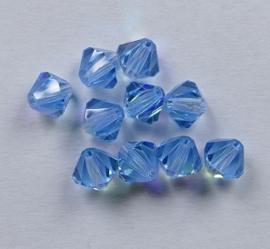 Bicones, 6 mm, Preciosa, Aqua AB
