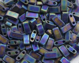 Miyuki Half Tila Beads, 5x2,3 mm , Matte Black AB, kleurnummer 401FR