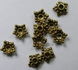 Kralenkapjes, ster, 6,5 mm, Antique Gold