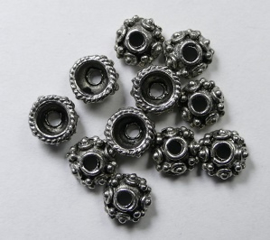 Kralenkapjes, 7x3 mm Antique Silver