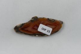 Agaatschijf, 65x27 mm, rood/bruin