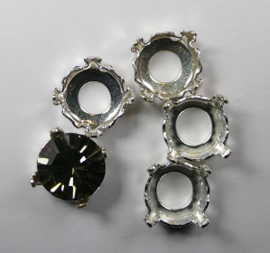 Setting voor rivoli of chaton, 8 mm, silver plated