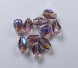 Firepolished Drops, 7x5 mm, Amethyst AB