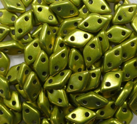 2 hole Diamond Beads, 4x6 mm, Czech Mates, Color Trends Saturated Metallic Meadow Lark