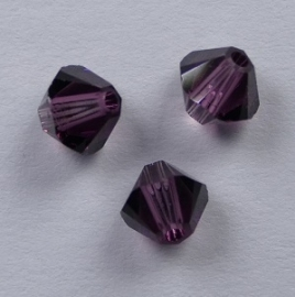 4 mm Amethyst Swarovski Element Bicones