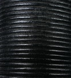 Rond leer, 2 mm , 50 cm, Zwart