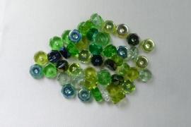Czech Glass,  Faceted Rondel beads, 3x6 mm, Mix Evergreen