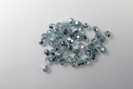 Czech Glass  Firepolish, 4mm Coated 1/2 Silver/Teal