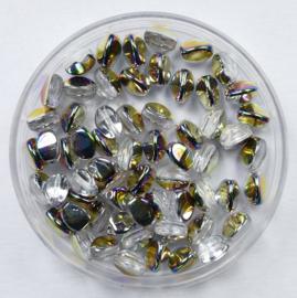 Czech Glass Pinch Bead, Crystal Sliperit