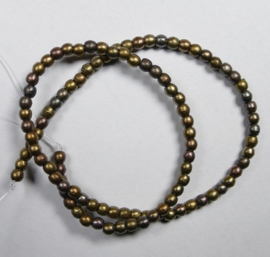 Round Beads , 2 mm, Czech Glass, Matte Metallic Leather