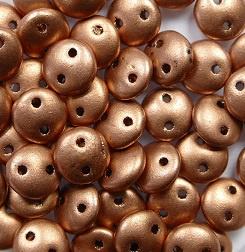 2 hole Lentils, 6 mm, Czech Mates, Matte Metallic Copper