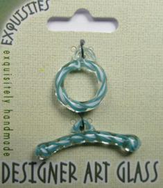 Toggle Clasp, kapittelsluiting, 1 streng , glas: aqua/white swirl