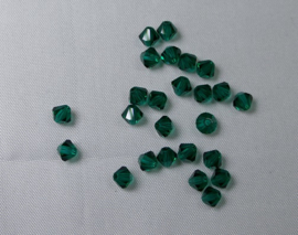 Bicones, 4 mm, Preciosa, Emerald