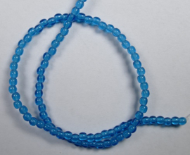 Round Beads , 2 mm, Czech Glass, Capri Blue