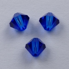 4 mm Blue Capri Swarovski Element Bicones