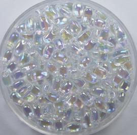 Miyuki Long Drops, 3x5,5 mm , Crystal AB, kleurnummer 250