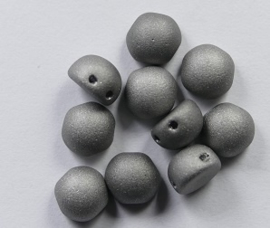 2-hole Cabochons, 6 mm, Crystal Chrome Full Matted