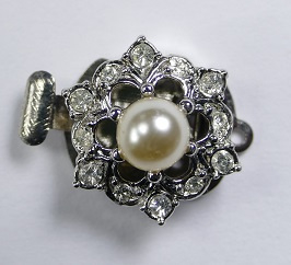 Luxe schuifsluiting met Preciosa parel en kristal voor 1 rij, zilverkleurig