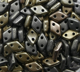 2 hole Diamond Beads, 4x6 mm, Czech Mates, Matte Metallic Leather