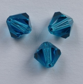6 mm Blue Zircon Swarovski Element Bicones