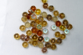 Czech Glass,  Faceted Rondel beads, 3x6 mm, Mix Wheatberry