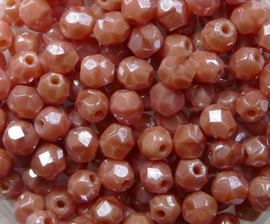 Czech Glass,  Firepolish, 4 mm Luster Pink Coral