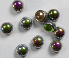 2-hole Cabochons, 6 mm, Crystal Vitrail Full