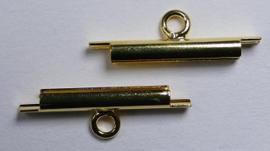 Miyuki Slide End Tubes 15 mm, goudkleur