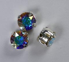 Rosemontees, silverplated crystal AB, 6 mm