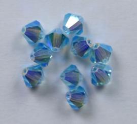 Bicones, 6 mm, Preciosa, Aqua Bohemica AB 2x