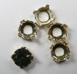 Setting voor rivoli of chaton, 8 mm, goudkleur