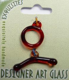 Toggle Clasp, kapittelsluiting, 1 streng , glas: garnet
