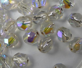 Czech Glass Firepolish, 6 mm Crystal AB Silver Lined