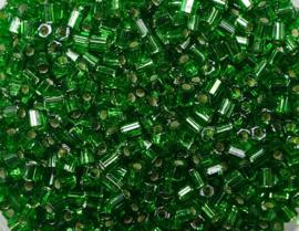 Miyuki Rocailles, hex cut 11/0, Silver Lined Green, kleurnummer 16