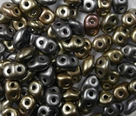 Superduo's, 2,5x5 mm, Matubo, Matte Metallic Leather