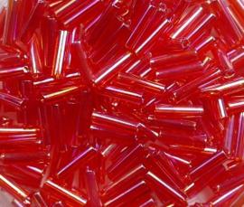 Miyuki Bugles, 6mm, Transparent Red AB, kleurnummer 254