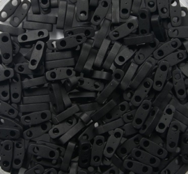 Miyuki Quarter Tila Beads, 5x1,2 mm , Matted Black, kleurnummer 401F