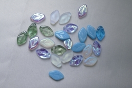 Czech Glass,  Leaves , 12x7 mm, Mix Serenity