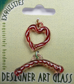 Toggle Clasp, kapittelsluiting, 1 streng , glas, hartvormig: garnet/white swirl
