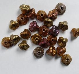 Flower Cup beads, 7x5 mm, Purple Iris Gold