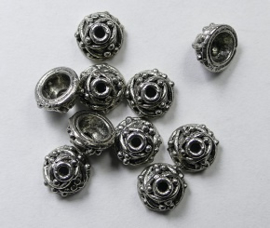 Kralenkapjes, wijnrank, 6x4 mm Antique Silver