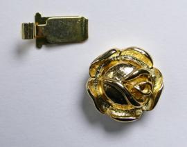 Roosvormige sluiting voor 1 streng, gold plated
